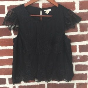 Forever 21 Black lace top Small
